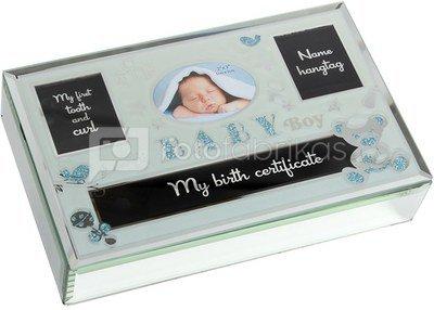 Dėžutė stiklinė kūdikio prisiminimams H:5 W:24 D:15 cm CG1364B berniukui