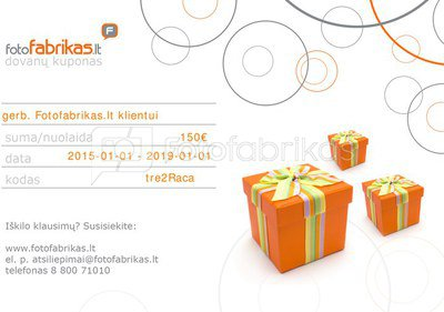 Dovanų kuponas, 150 EUR