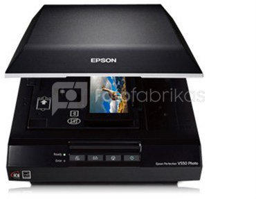 Epson Perfection V550 Photo color scanner / 6400 dpi / Color: 48-bit / Grayscale: 16-bit / 3.4 Dmax / Scaling zoom: 50 ? 200% (1% step) / 4 buttons: Scan, E-mail, Copy and PDF / Speed: 21.0 msec/line