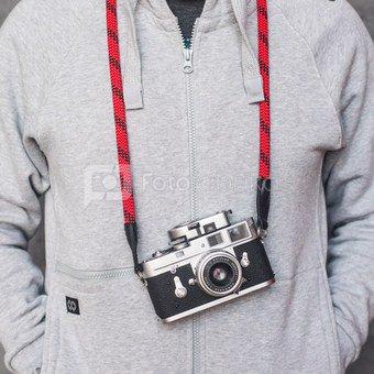 Fotoaparato dirželis-virvė Cooph Leica (juoda/raudona)