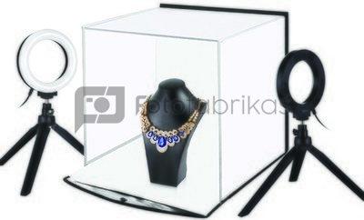 Fotografavimo dėžė su žiedinių lempų komplektu, 30x30x30cm