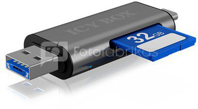 Icy box IB-CR200-C SD/MicroSD (TF) USB 2.0 card reader with Type-C and -A to micro USB (OTG) interface, anthracite