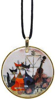 Kaklo papuošalas-amuletas D 5,5 cm L 58 cm 66-850-77-7 porcelianinis su aukso pa