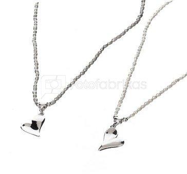Kaklo papuošalas Širdutė balti/pilki perlų karoliukai 59065