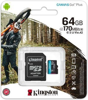 KINGSTON 64GB UHS-I microSD Memory Card with SD Adapter (Class 10)