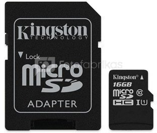 Kingston Canvas Select UHS-I 16 GB, MicroSDHC, Flash memory class 10, SD Adapter