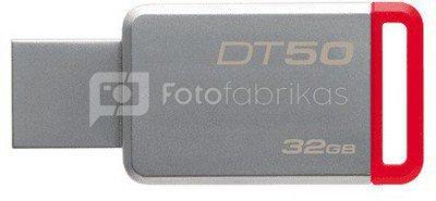 Kingston DataTraveler 50 32 GB, USB 3.0, Red, Silver