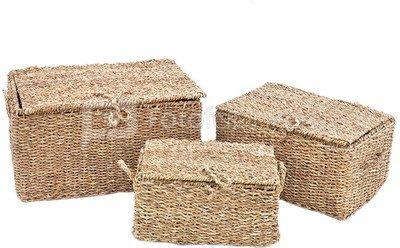 Krepšiai pinti su dangčiu iš jūros žolės 3 vnt. L60x45 M 50x34 S 40x28cm SAVEX