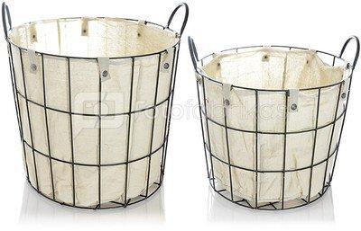 Krepšiai metaliniai su medžiag. įdėklu 2 vnt. 45*41 cm 38*33 cm SAVEX