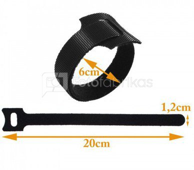 Laidų laikiklis Cable tape 200x12mm black