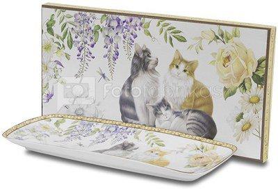 Lėkštė porcelianinė su katinų piešiniu 2,5x30,5x13,5 cm 108764 ddm