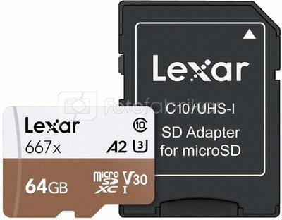 LEXAR PRO 667X MICROSDXC UHS-I A2 (V30) R100/W90 64GB