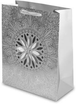 Maišelis dovanoms 32x26x12 cm 115615 sidabro sp. kld