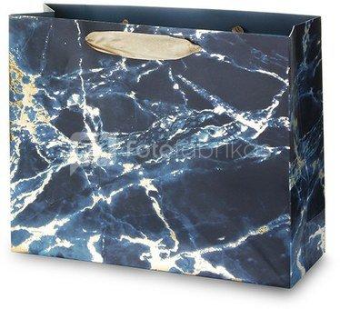 Maišelis dovanoms su mėlyno marmuro piešiniu 26x32x11 cm 135327