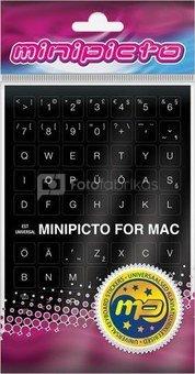 Minipicto keyboard sticker EST KB-MAC-EE01-BLK, black/white