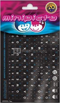 Minipicto keyboard sticker EST/RUS KB-UNI-EE02-BLK-BLUE, black/white/blue