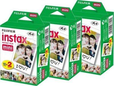 Momentinės fotoplokštelės instax mini GLOSSY(10plx2) x 3 pakuotės (60 kadrų)