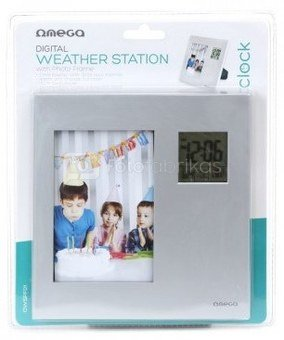 Omega digital weather station with photo frame OWSPF01, silver