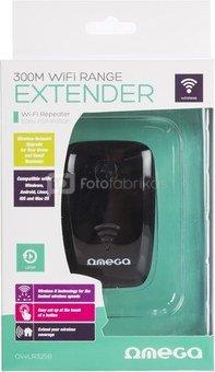 Omega Wi-Fi repeater 300Mbps, black (42299)