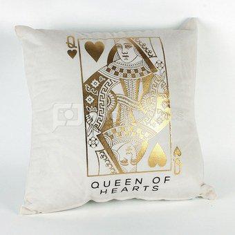 """Pagalvėlė balta/aukso sp. """"Queen of Hearts"""" HM1304 H:32 W:34 D:11 cm"""
