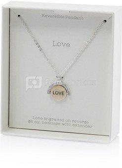 """Pakabukas ant kaklo su širdele """"Love"""", grandinėlė 38 cm LL181 H:3 W:9 D:11 cm"""