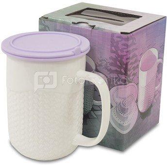 Puodelis arbatai su silikoniniu dangčiu violetinės sp. 12,5x12x8,5 cm 118874