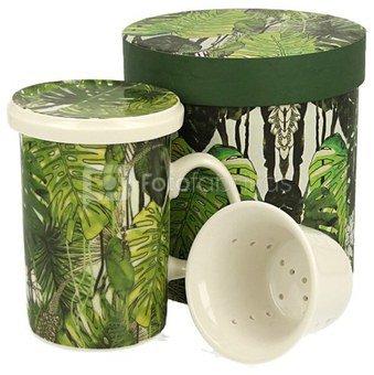 Puodelis arbatai su tropinių lapų piešiniu dėžutėje 320 ml 5902693915232