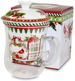 Puodelis su dangčiu ir sieteliu Kalėdinis dėžutėje 14,5x11,5x9,5 cm 107677 KLD
