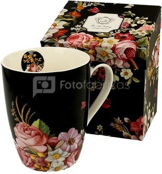 Puodelis su gėlėmis juodos spalvos 390 ml 5902693919834