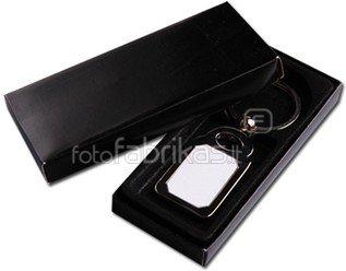 Stačiakampio formos raktų pakabukas su dėžute