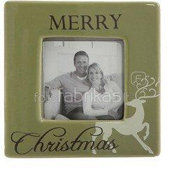 """Rėmelis kvadratinis """"Merry Christmas"""" 10x10 cm. XM227 keramikinis KLD"""