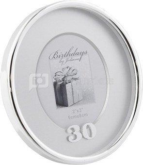 Rėmelis ovalus 5x8 cm 30-am gimtadieniui FS18630 metalinis H:10 W:8 D:2 cm