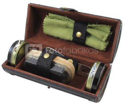 Rinkinys batų priežiūrai odinėje dėžutėje ZM04B, H:17, W:7,5, D:7,5 cm.