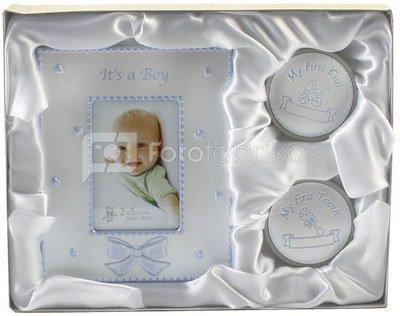 Rinkinys kūdikiui rėmelis+dėžutės pirmam dantukui,sruogai CG410 16*20 cm