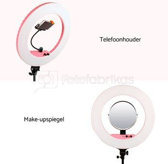 Caruba Round Vlogger 18 inch LED set Economy met tas   Pink