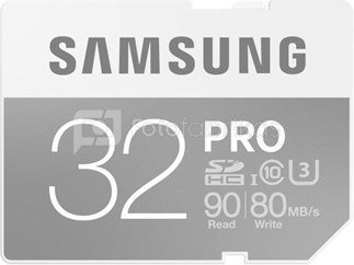 SAMSUNG 32GB, SDHC PRO Memory Card, CLASS 10, Read: up to 90MB/s, Write: uo to 80MB/s
