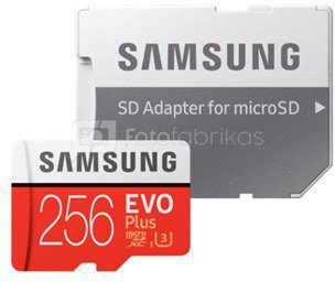 Samsung EVO PLUS UHS-I 256 GB, MicroSDXC, Flash memory class 10, SD adapter