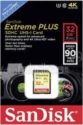 SanDisk Extreme Plus SDHC 32GB 90MB/s. UHS-I SDSDXSF-032G-GNCIN