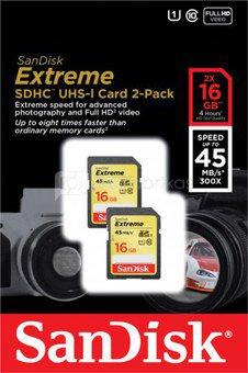 SanDisk Extreme SDHC 2-Pack 16GB 30MB/s UHS-I SDSDX2-016G-X46