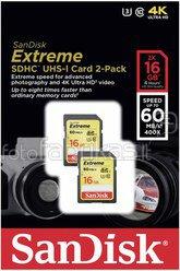 SanDisk Extreme SDHC 2-Pack 16GB 60MB/s UHS-I SDSDXN2-016G-G46