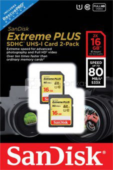 SanDisk Extreme SDHC 2-Pack 16GB 80MB/s. UHS 1 SDSDXS2-016G-X46