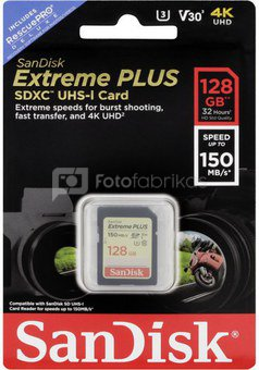 SanDisk memory card SDXC 128GB Extreme Plus V30 U3