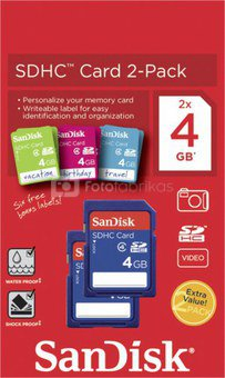 SanDisk SDHC Card 2-Pack 4GB with labels SDSDB2L-004G-B35