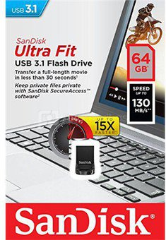 Sandisk Ultra Fit™ USB 3.1 - Small Form Factor Plug and Stay Hi-Speed USB Drive 64 GB, USB 3.1, Black