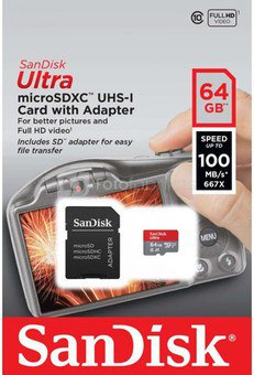 SanDisk Ultra microSDXC 64GB 100MBs Adapt. SDSQUAR-064G-GN6IA