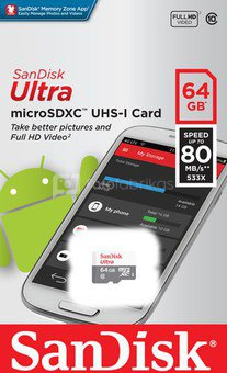 SanDisk Ultra microSDXC 64GB 80MB/s Cl. 10 SDSQUNS-064G-GN3MN