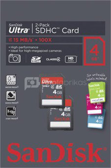 SanDisk Ultra SDHC 2-Pack 4GB with labels SDSDH-004G-U46L2