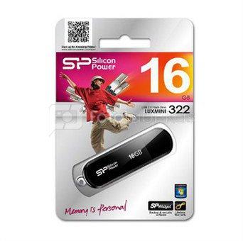 SILICON POWER 16GB, USB 2.0 FLASH DRIVE LUXMINI 322, BLACK