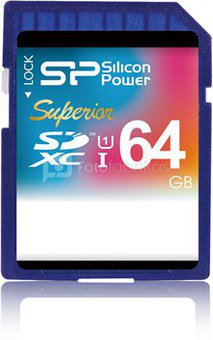 SILICON POWER 64GB, SDXC Elite UHS-I, Class 10, up to 50/15 MB/s in reading and writing