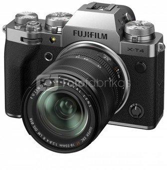 Sisteminis fotaparatas Fujifilm X-T4 + XF18-55 Sidabrinis